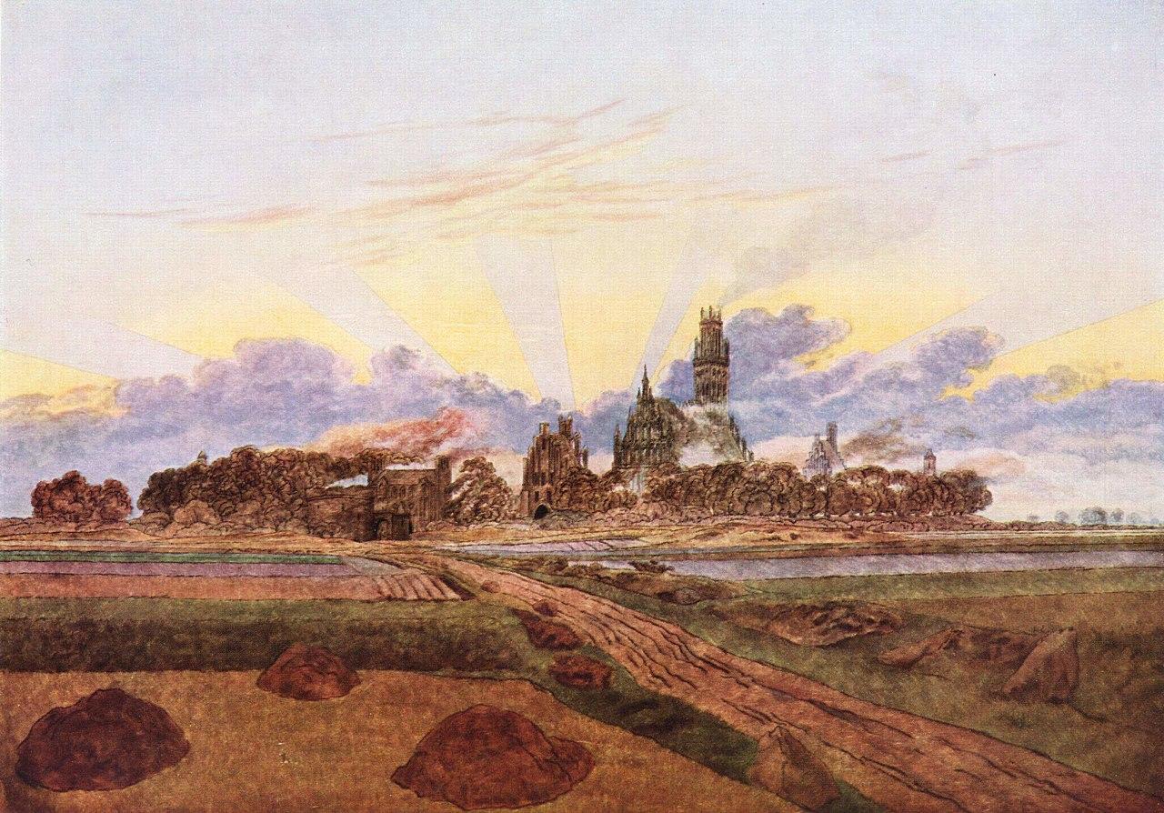 Caspar David Friedrich - Wschód słońca nad Neubrandenburgiem